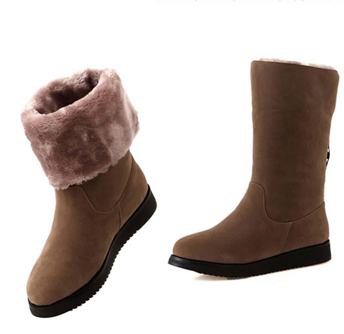 Mid Tube Stiefel Frauen Chelsea Stiefel Flat Heel Wildleder Ritter Stiefel Weibliche Schneeschuh Warm Winter Runde Toe Casual Schuhe (Farbe : Braun)
