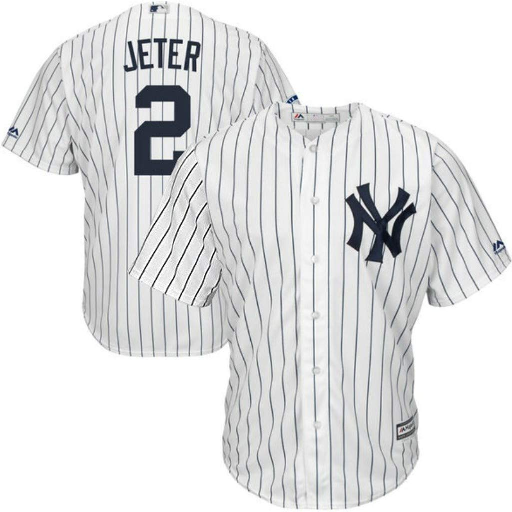 3337f32f40f Amazon.com   Majestic New York Yankees MLB Mens Derek Jeter  2 Cool Base  Replica Player Jersey White Pinstripe Big   Tall Sizes   Sports   Outdoors