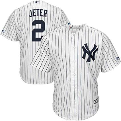 huge discount 1d6ae f4b53 Majestic New York Yankees MLB Mens Derek Jeter #2 Cool Base Replica Player  Jersey White Pinstripe Big & Tall Sizes