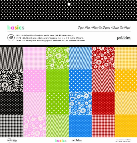 Polka Dot Cardstock - Pebbles Basics Paper Pad, 12 by 12-Inch
