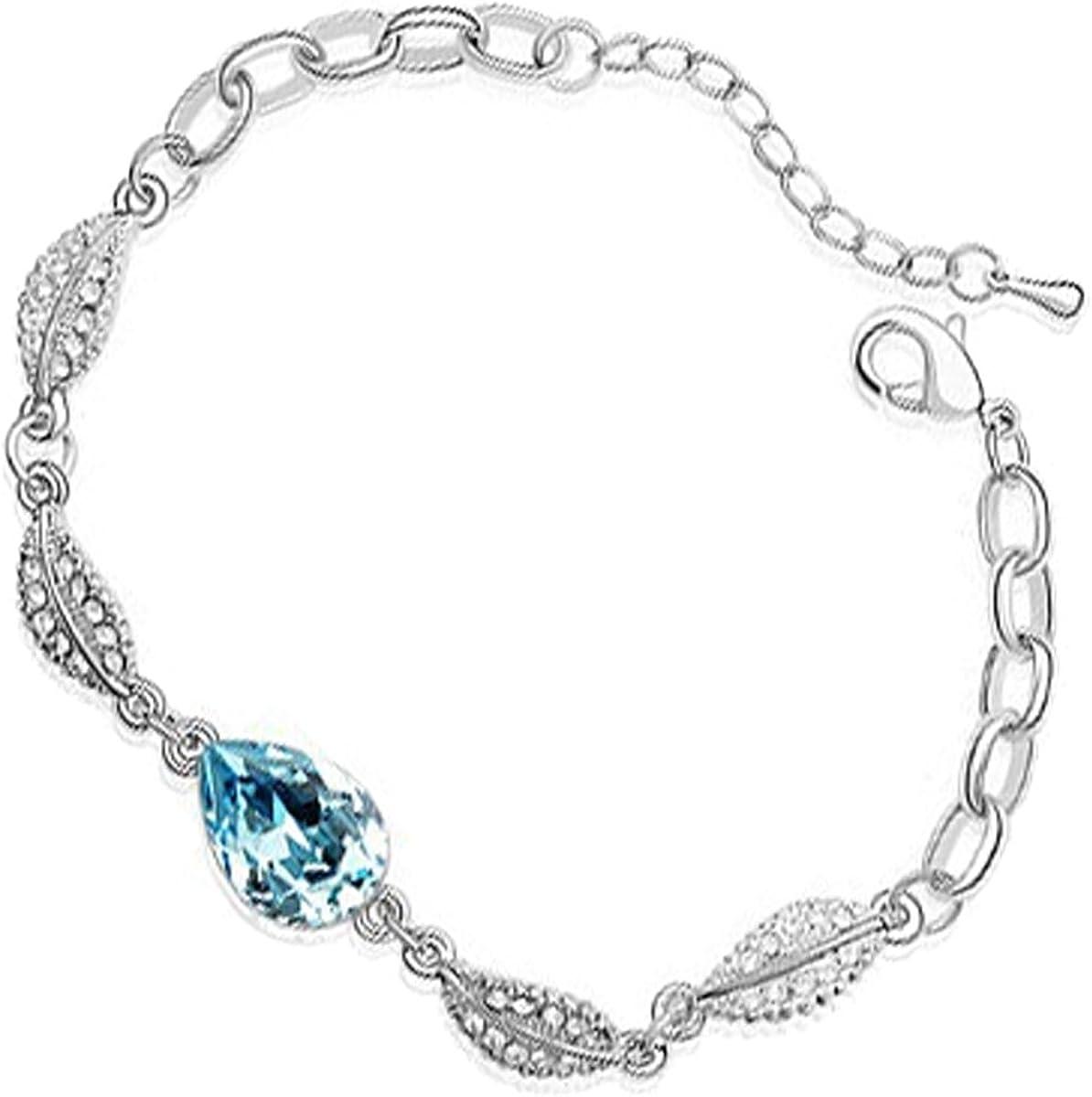 UPCO Jewellery Brazalete con una Piedra Central en Forma de Gota y 4 Hojas Cubiertas de Cristales Blancos, de 180 MM bañado en Plata esterlina