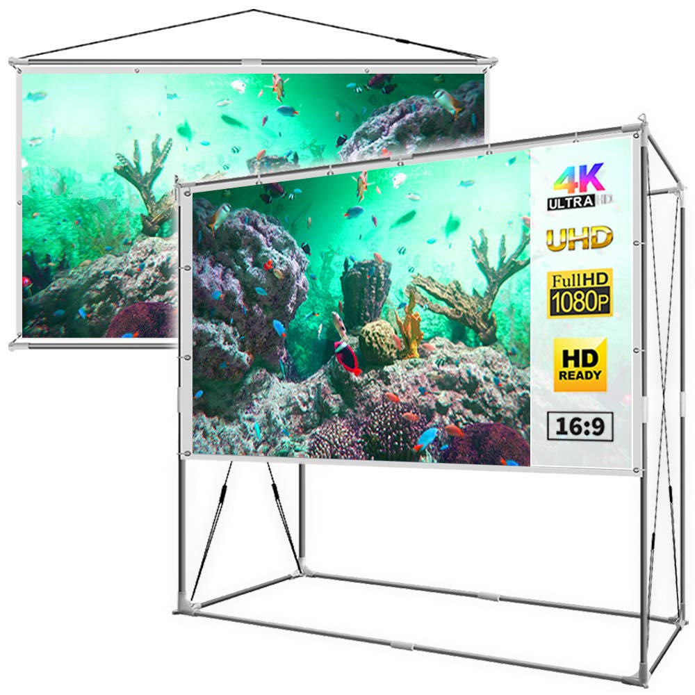 JaeilPLM 120-Inch 2-in-1 Portable Projector Screen, Outdoor Indoor Compatible with Rectangle Stand or Hanging Design Movie Projection for Home Theater, Gaming, Office(SQ120) by JaeilPLM