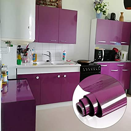 Yenhome Vinyl Contact Paper Waterproof 24 X 393 Glossy Purple Creative Covering For Kitchen Cabinets Drawer And Shelf Liner Self Adhesive Wallpaper