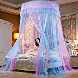 Lustar Court Style Mosquito Net Bed Canopy For Children Fly Insect Protection Indoor Decorative Height 280cm Top Diameter 1.5m,Pink