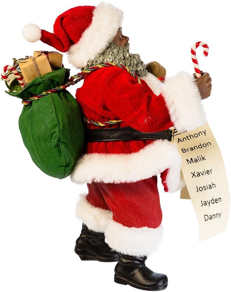 Kurt Adler 10.5 Fabriche Black Santa with List and Candy Cane