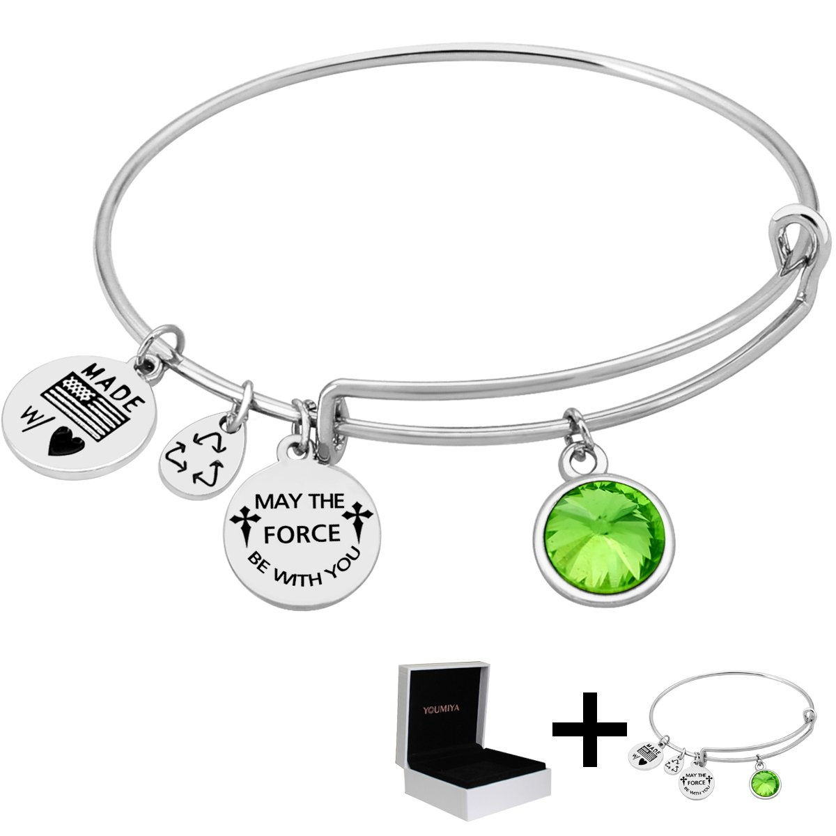 """Bracelet For Birthday Gifts Symbol of Birthstone Gifts Bangle """"May The Force Be With You"""" Adjustable Bracelet Hand Made Bracelet For Women,Girls (August)"""