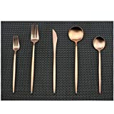 Uniturcky Flatware Set for 4, Luxury 20 Pieces Rose Gold Plated Copper Color 18/10 Stainless Steel Silverware Flatware Sets Spoons Knives and Forks Set, Service for 4