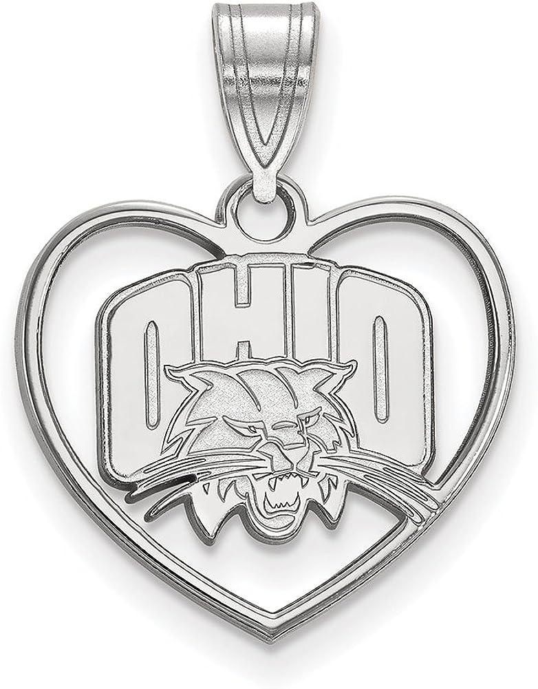 Lex /& Lu LogoArt Sterling Silver Ohio University Pendant in Heart