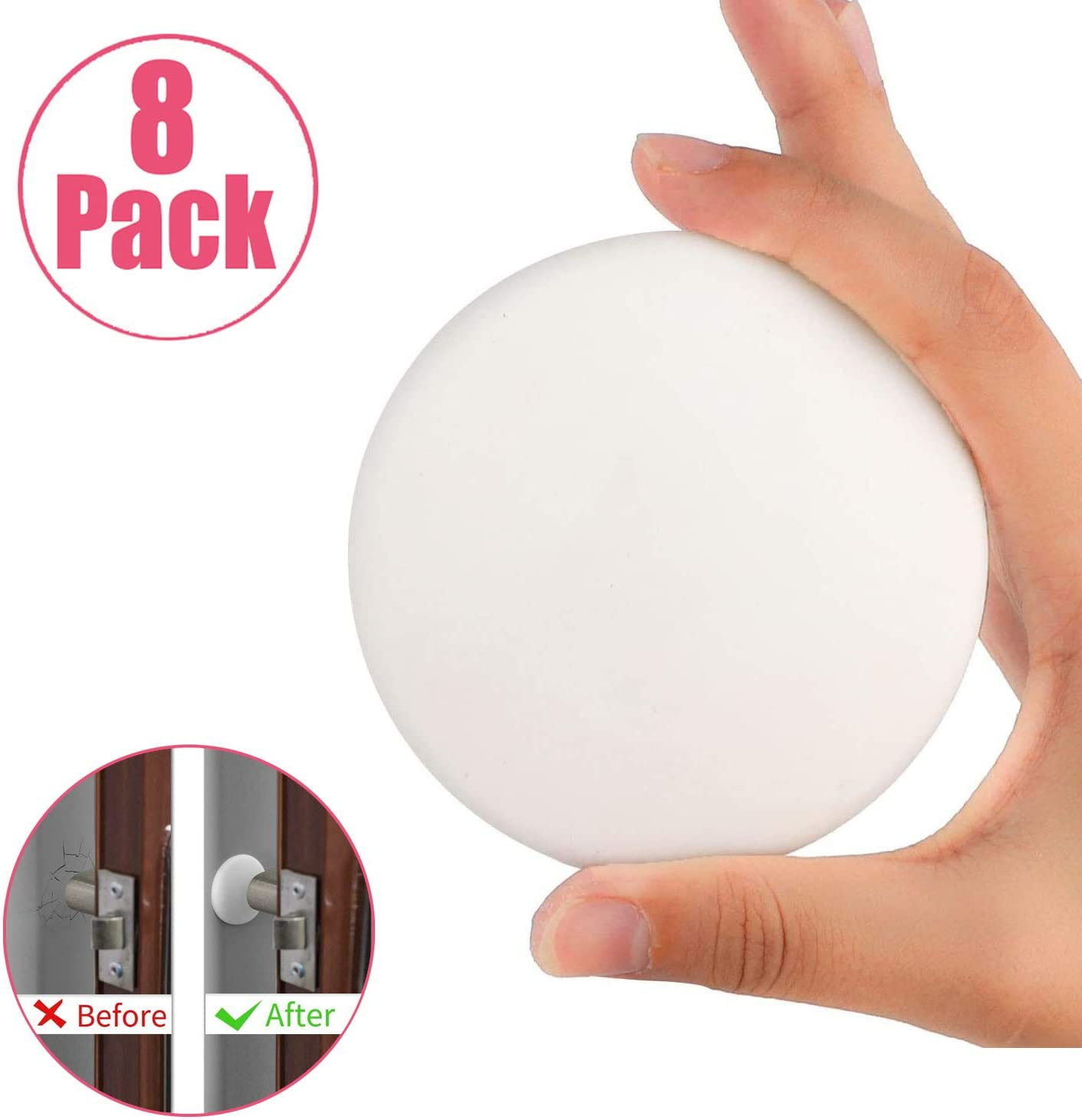 Door Stopper Wall Protector,12 Pack 1.57 Inch Round Door Knob Silicon Wall Guard Shield Protector