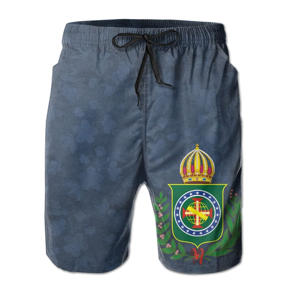 Qinf New Cartoon Fashion Coat Of Arms Of Brazil Men's Beach Pants Casual Shorts For Man
