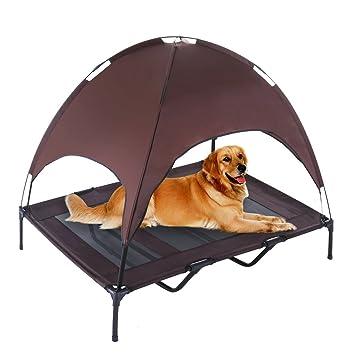 REAYOU Cama Elevada Para Mascotas Toldo Para Cuna Para Mascotas Cuna para perro con toldo Cama