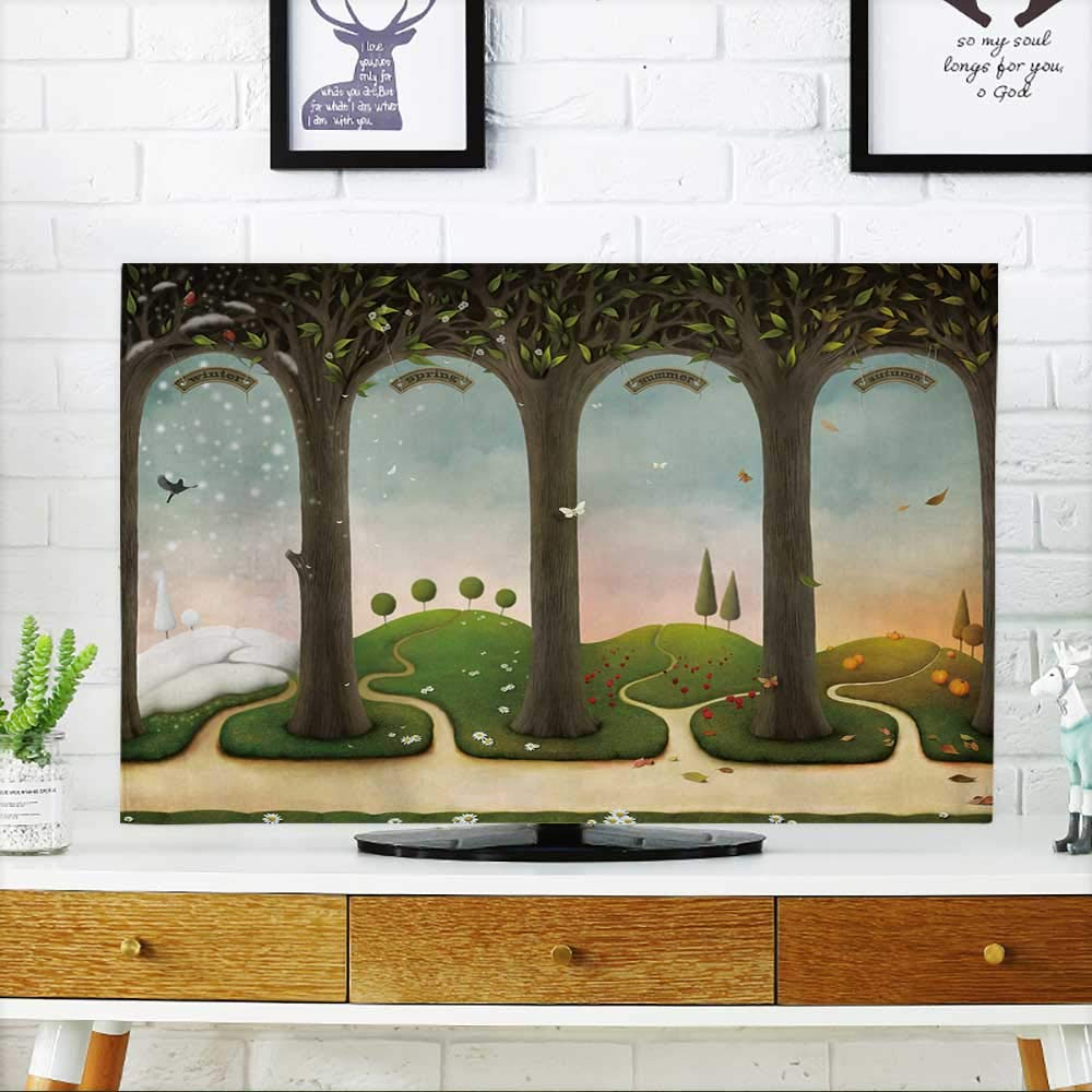 PRUNUS Protect Your TV of Four Seasons Winter,Spring,Summer,Autumn Computer Graphics. Protect Your TV W25 x H45 INCH/TV 47''-50''