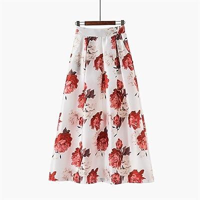 BIXIANGJI Falda larga for mujer, bolsillos de cintura alta Falda larga con rayas florales vintage Falda plisada (Color : 1090 19 red, tamaño : XL): Ropa y accesorios
