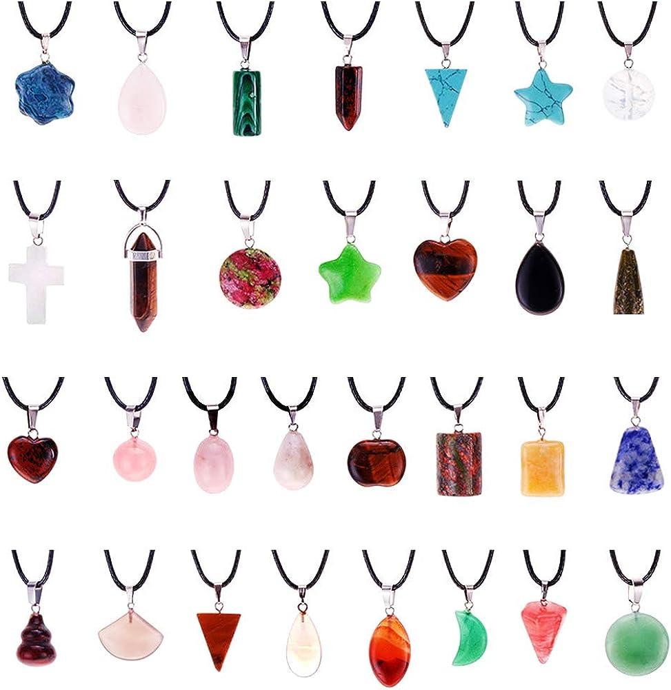 Surtido al azar 30 colgantes de piedra natural con forma de corazón, jade, turquesa, piedras de chakra, collar con cuentas de piedras preciosas con cordón de cuero
