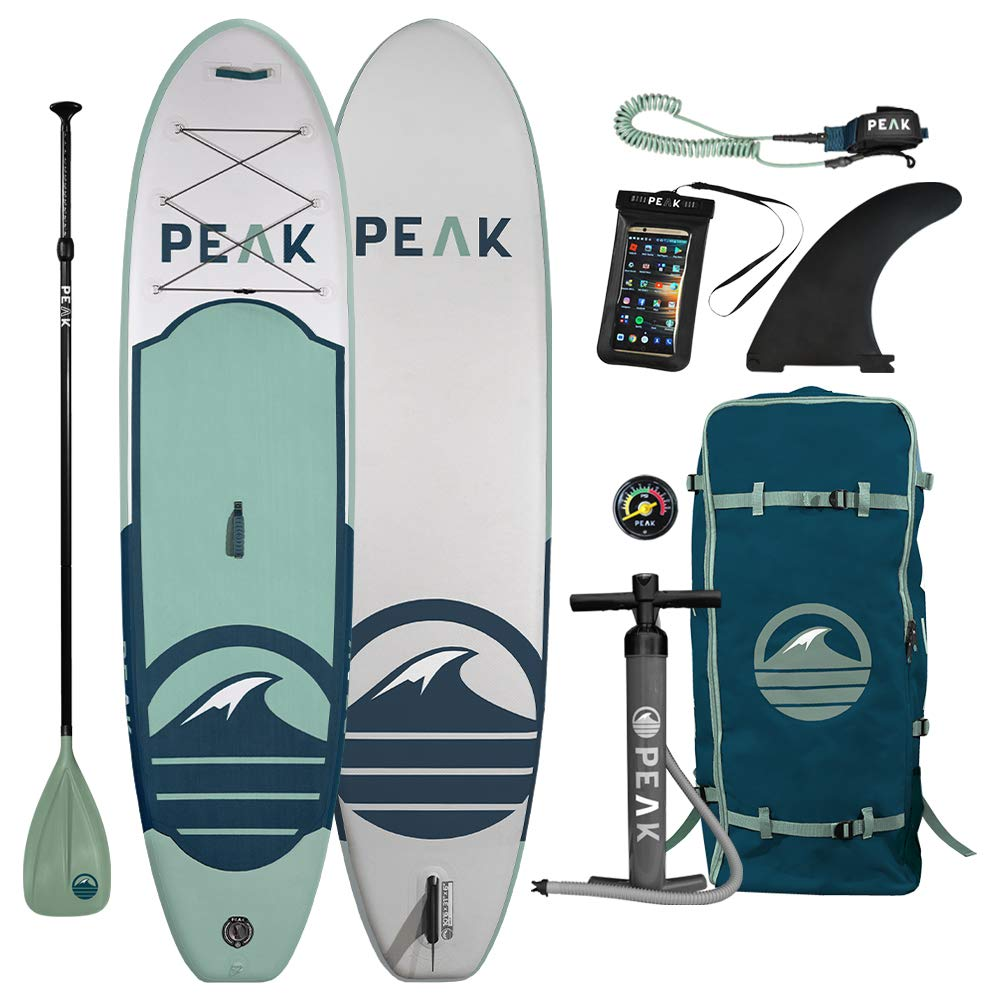 Peak All Around Inflatable Stand Up Paddle Board Package | 10'6'' Long x 32'' Wide x 6'' Thick | Durable and Lightweight SUP | Stable Wide Stance | Moss