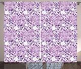 Mauve Decor Curtains Digital Guiloche Fractal Crystal Stylized Floral Ornamental Retro Design Living Room Bedroom Window Drapes 2 Panel Set Lilac Lavender For Sale