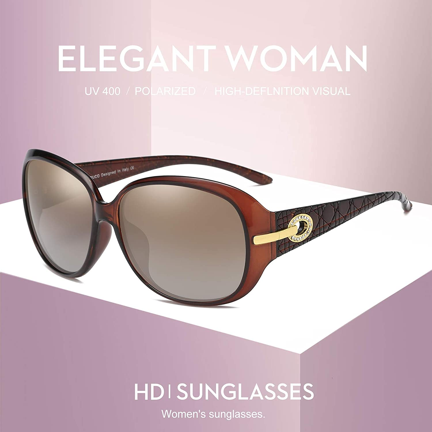 30d21131ed2 DUCO Women s Shades Classic Oversized Polarised Sunglasses 100% UV  Protection 6214 Brown Frame Brown Lens  Amazon.co.uk  Clothing