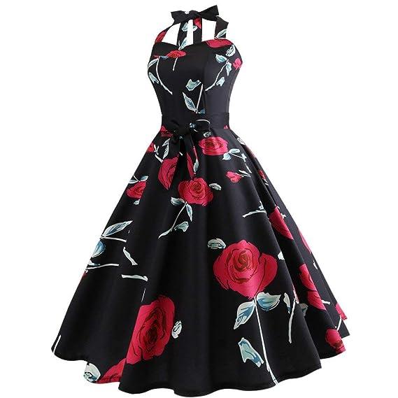 BaZhaHei Swing Vestito Donna Donne 1950 Audrey Hepbun Vintage Elegante  O-Collo Senza Maniche Abito da Sera Mini Bodycon Vestito per Festa di  Ballo  ... 642a02a78fb