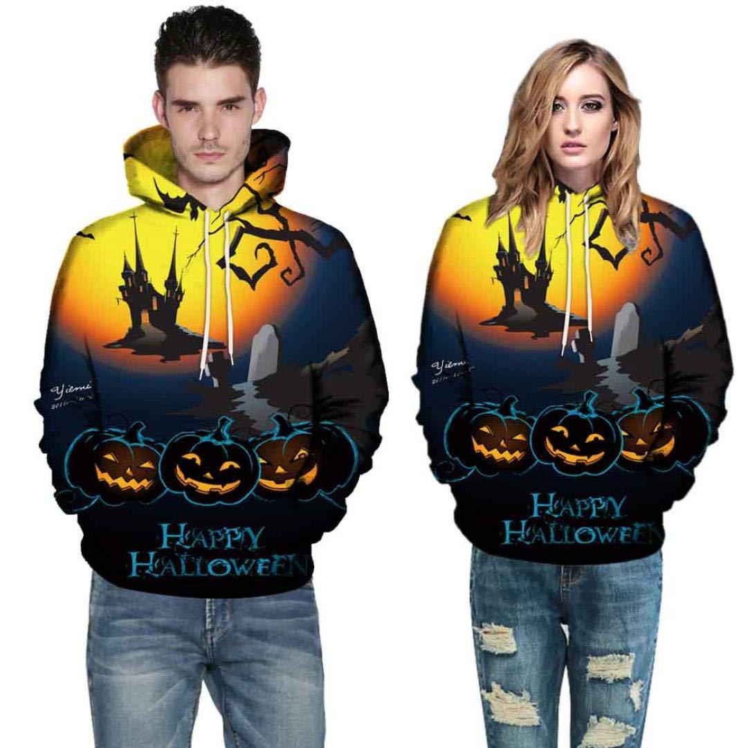 Men Women Mode 3D Print Autumn Winter Casual Long Sleeve Halloween Couples Hoodies Top Blouse Shirts Outwear (5XL, Yellow)