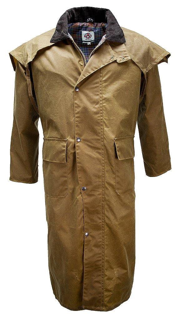 WWK / WorkWear King Mens Beige Tan Long Oilskin Wax Duster Drover Stockmans Jacket