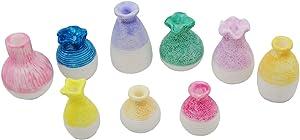 EMiEN Mini Resin Flower Vase Miniature Garden Ornament Kit, DIY Fairy Garden Dollhouse Decoration Accessories, Fine Mouth Vase Home Garden Micro Landscape Fairy Scene Plant Pots Décor (Pack of 9)