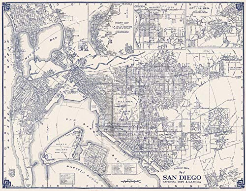 (Historic Map | Thomas Bros. Map of San Diego, National City & La Mesa, California, 1938 State Atlas | Vintage Wall Art | 24in x 18in)