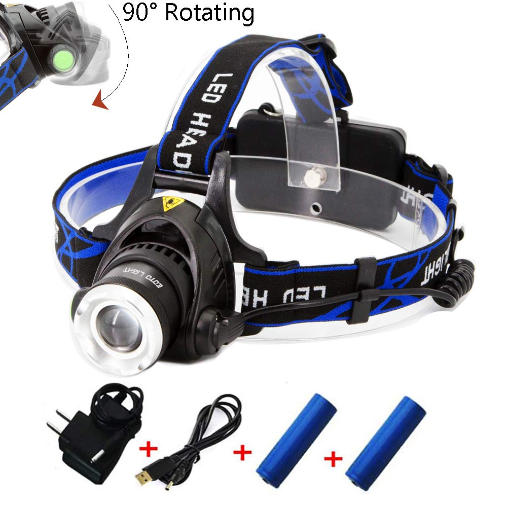 EOTO LIGHT Rechargeable Headlamp,1800 Lumens Zoomable Waterproof LED Head lamp flshlight, Hands-Free Headlight Torch Lamp for Hunting Hiking Camping Fishing Reading Running Cycling