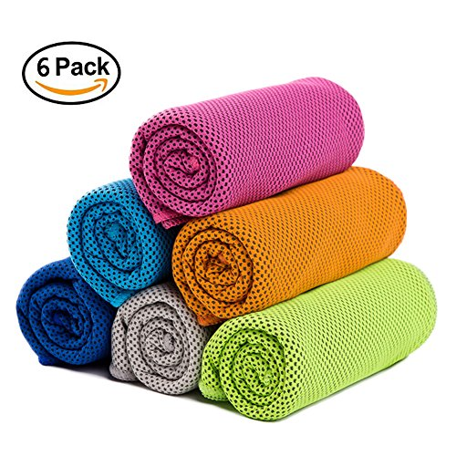 "6 Pack Evaporative Cooling Towel Set ,40""x12"" Snap Cooling Towel for Sports, Fitness, Gym, Yoga, Pilates, Travel, Camping"