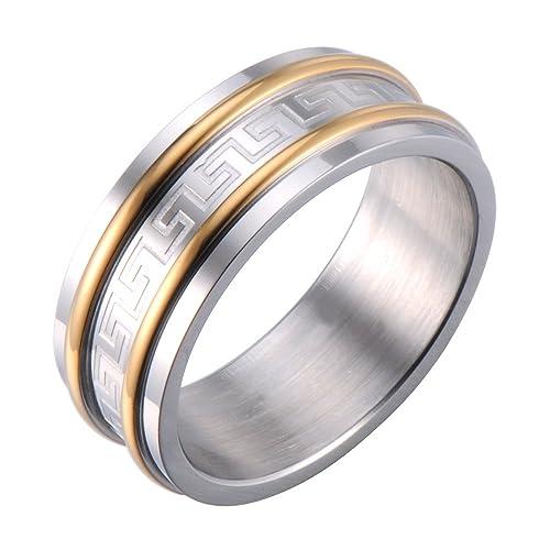 Mens Ring Wedding Band Infinity Style Greek Symbols Engraved