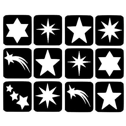 Stars Plantillas De Tatuaje Con Purpurina 12 Plantillas De