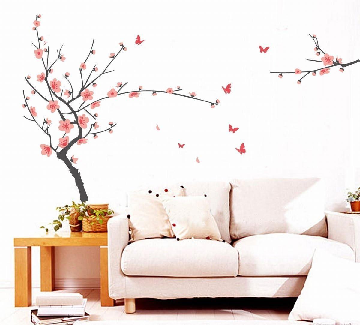 WOVELOT Pegatina de Decoracion de Pared Desmontable de Vinilo Mariposa arbol de Ramas de Flor del Melocoton Rosado