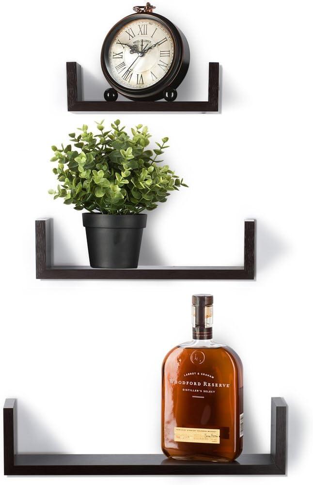 Sagler Floating Shelves Set of 3 Wall Shelves - Espresso Finish Wooden Shelves