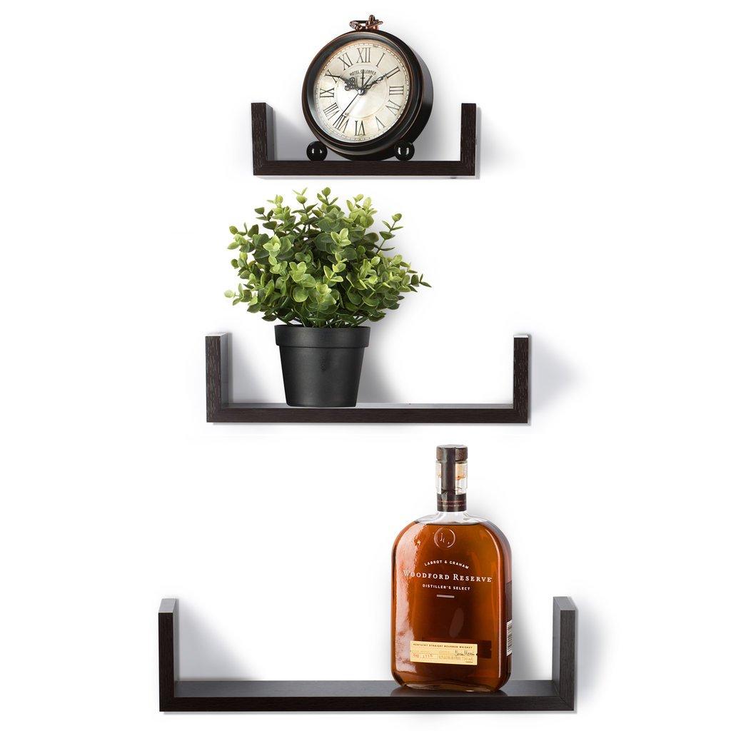 by Saganizer Espresso Finish Wooden Shelves Floating Shelves Set of 3 Wall Shelves