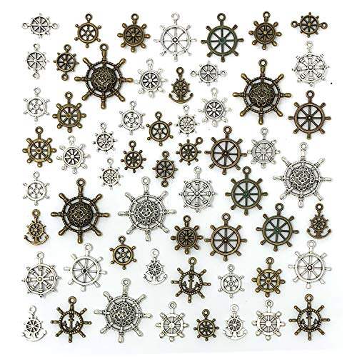 JIALEEY 57pcs Mixed Ship Anchor Wheel Charms Pendants DIY for Necklace Bracelet Jewelry Making, Antique Silver Bronze ()