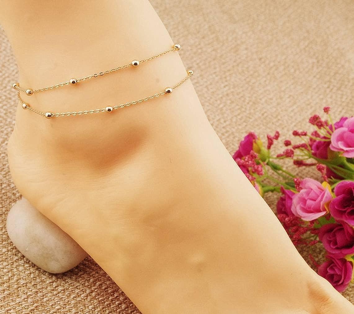 Jixin4you Bijoux Pied Femme Cha/îne de Cheville en Cuivre Bracelet de Cheville Simple