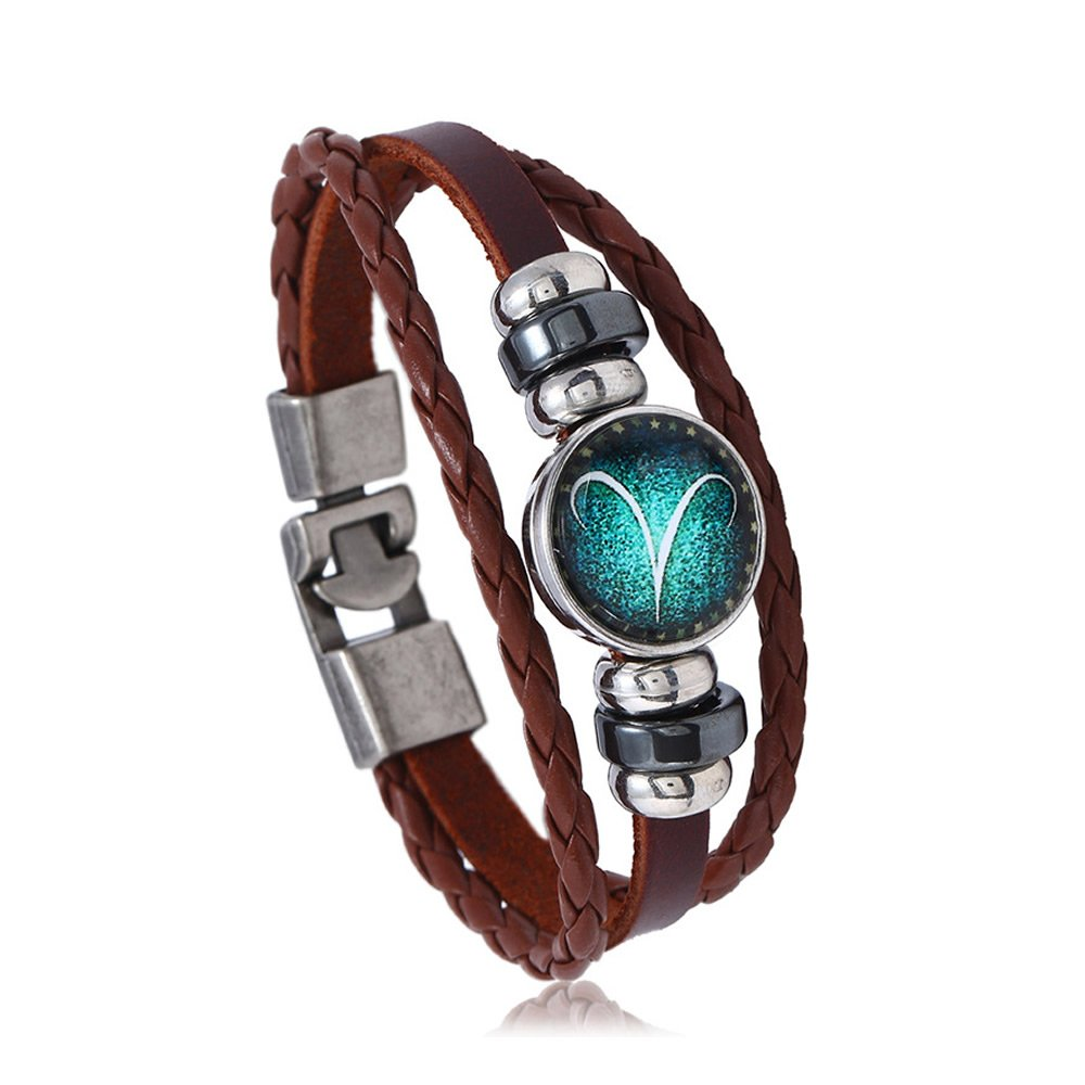 Gemsfly Antique Silver Zodiac Button Constellation Charm 3 Rows Multilayer Braided Leather Bracelet