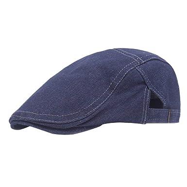 BOLAWOO Sombrero Plano De Algodón Vintage para Hombre Oreja con De ...