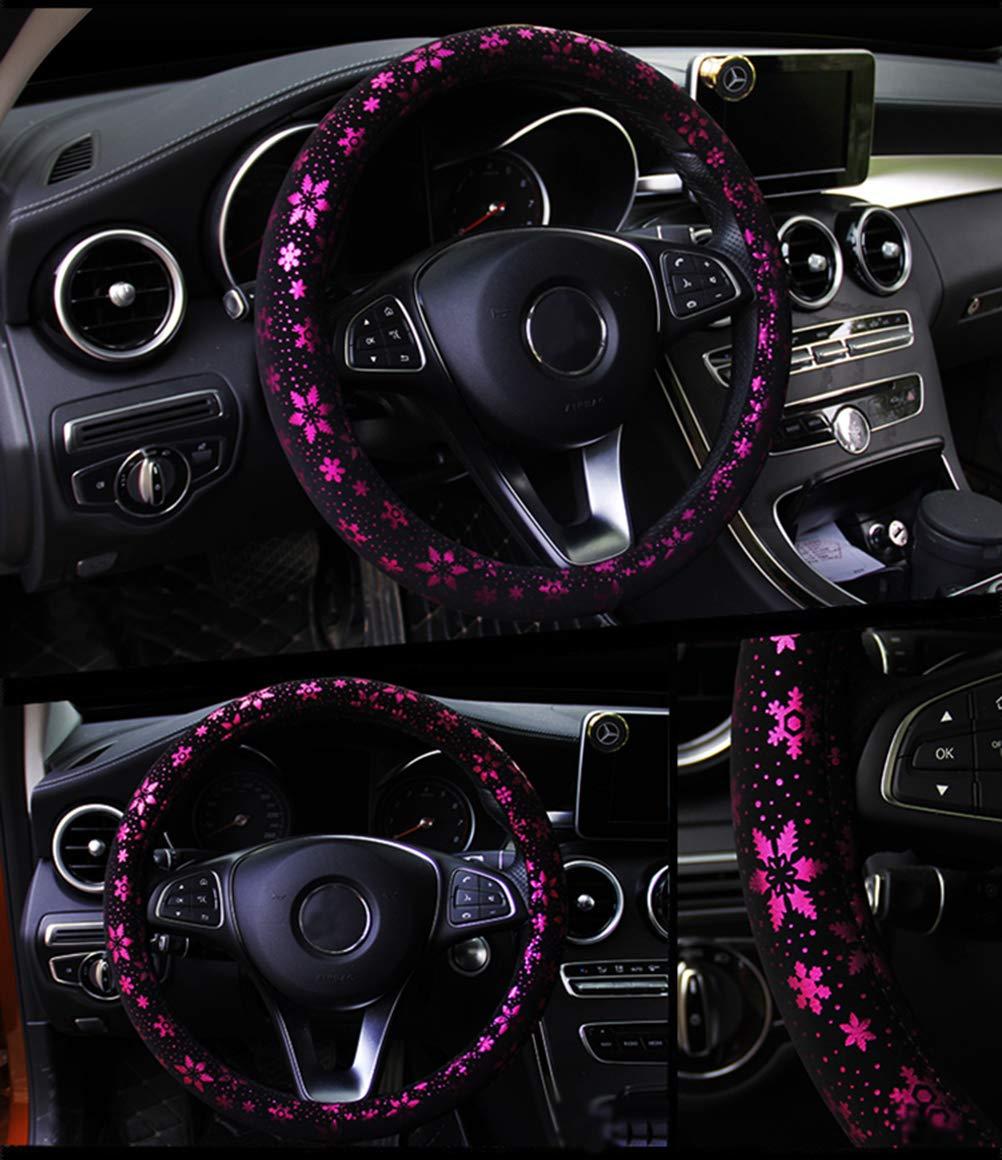 Couverture de volant de voiture brillant flocon de neige 4 couleurs anti-slip mignon pour les femmes de 15 pouces rose