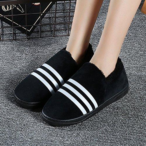 LaxBa Femmes Hommes chauds d'hiver Chaussons peluche antiglisse intérieur Cotton-Padded noir Chaussures Slipper40/41 (39-40 pieds)