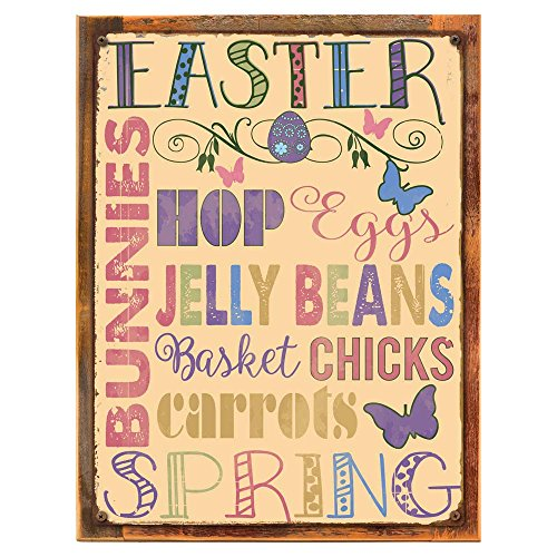 Wood-Framed Easter Words Metal Sign, Spring Décor, Seasonal