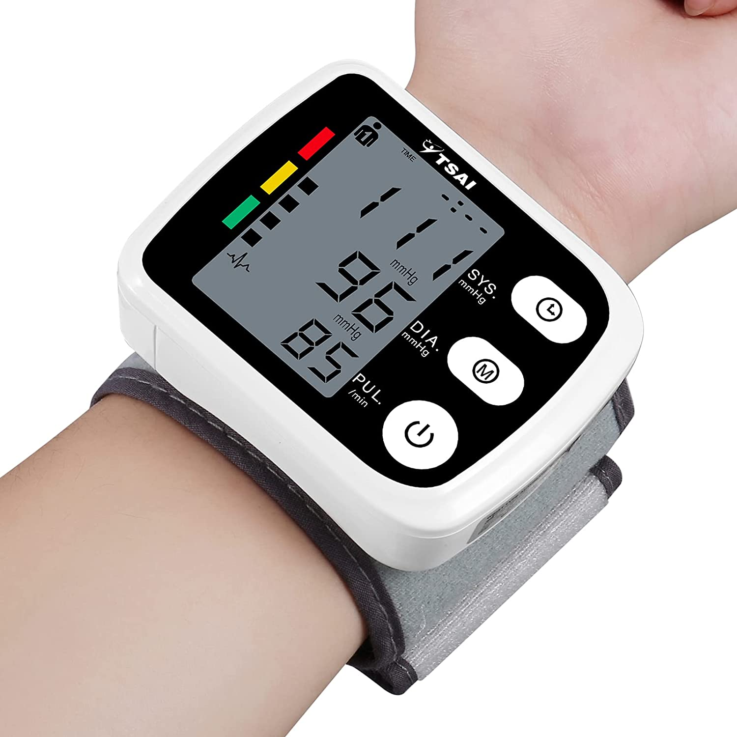 Wrist Blood Pressure Monitor, TSAI Automatic BP Monitor Irregular Heart Beat Detection Cuff , Large Display Dual Users Mode for Home Use (Black)