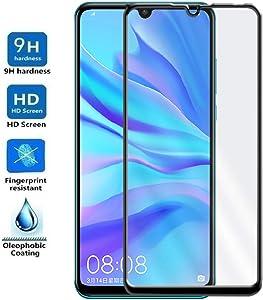 REY Protector de Pantalla Curvo para Huawei P30 Lite, Negro, Cristal Vidrio Templado Premium, 3D / 4D / 5D