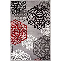 NEW Summit Elite S 53 Moroccan Madallions Gray White Black Red Modern Abstract Area rug (22 inch x 35 inch SCatter Rug Door Mat)