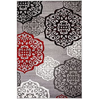NEW Summit Elite S 53 Moroccan Madallions Gray White Black Red Modern  Abstract Area Rug (
