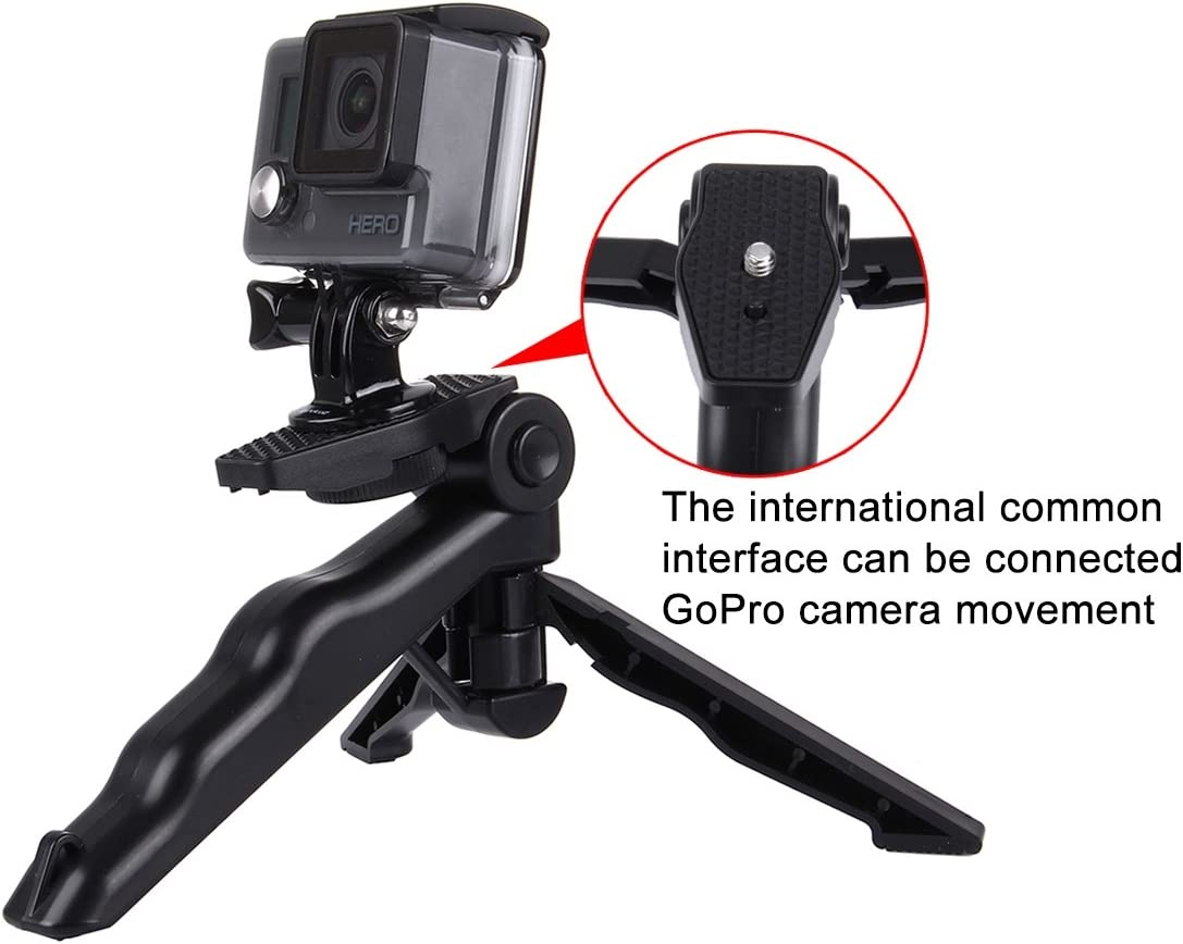 Load Max: 2kg Black Grip Folding Tripod Mount with Adapter /& Screws for GoPro HERO6//5//4 //3+ //3//2 //1 Digital Cameras Durable SJ4000