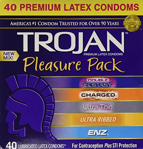 Trojan Pleasure Pack NEW MIX Premium Lubricated Latex Condoms - 40 Count Variety Pack - Double Ecstasy, Charged, Ultra Thin, Ultra Ribbed, ENZ - Brand NEW