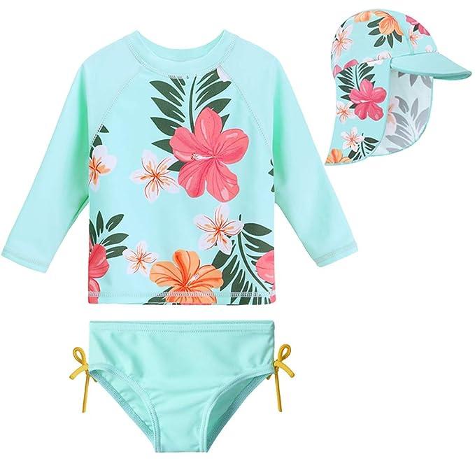 Amazon.com: HUAANIUE Traje de baño con gorro para bebés y ...