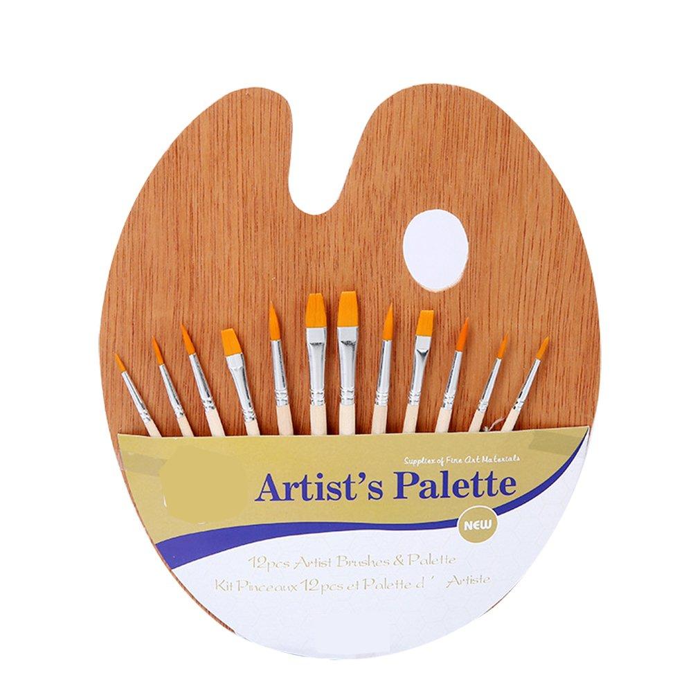 Mackur Wooden Paint Brushes Palette Set Wooden art Paint Brush Set Craft Kit for Students Painting Amateurs 1 Set