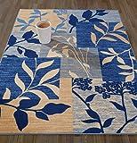 Diagona Designs Contemporary Floral Patchwork Design Non-Slip Kitchen/Bathroom/Living Room Area Rug, 5'0″ W x 6'6″ L, Ivory/Beige/Navy For Sale