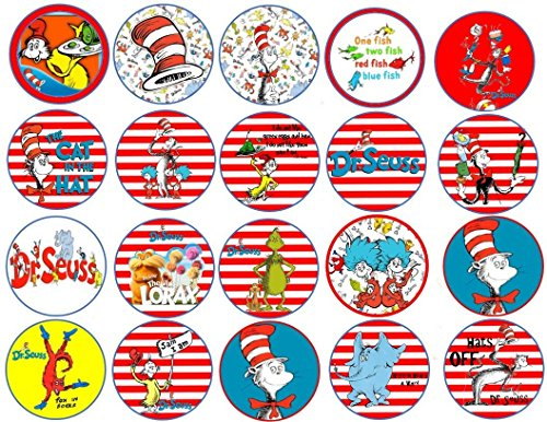 20 Dr Seuss inspired Edible Image Cookie or Cupcake Topppers (Prem Frosting)